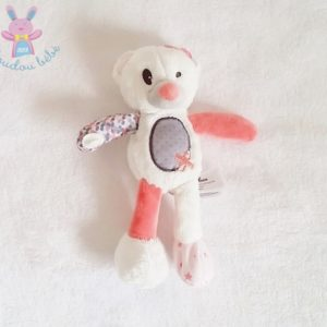 Doudou Ours blanc rose gris TAPE A L'OEIL TAO