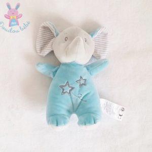 Doudou éléphant bleu gris rayé étoiles TOM & KIDDY
