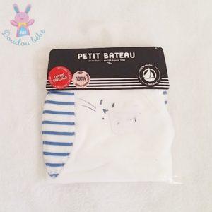 Doudou plat Lapin blanc rayé bleu PETIT BATEAU