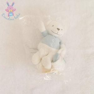 Doudou Ours bleu blanc mouchoir étoiles attache tétine PREMAMAN