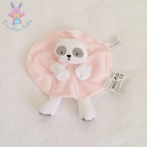 Doudou plat Ours Panda marionnette rose blanc TOM ET ZOE BABOU