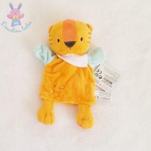 Doudou marionnette Tigre orange blanc vert étoiles TOM ET ZOE BABOU