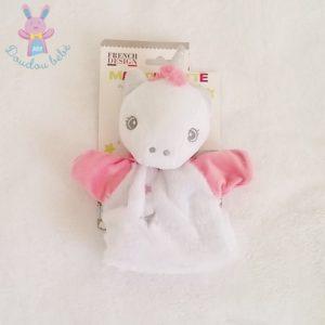 Doudou marionnette Licorne rose blanc étoiles TOM ET ZOE BABOU