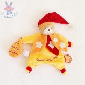 Doudou marionnette Ours jaune orange chouette ça brille DOUDOU ET COMPAGNIE