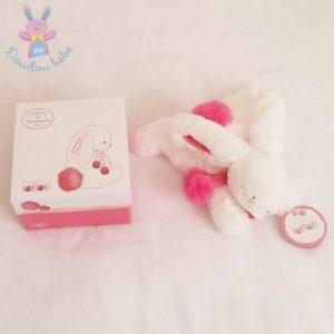 Doudou Lapin Pompon blanc fraise 25 cm DOUDOU ET COMPAGNIE