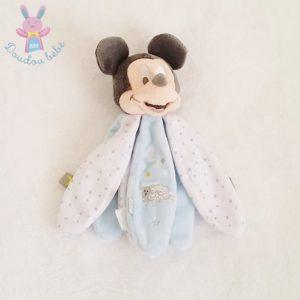 Doudou Mickey pétales bleu blanc étoiles moutons DISNEY
