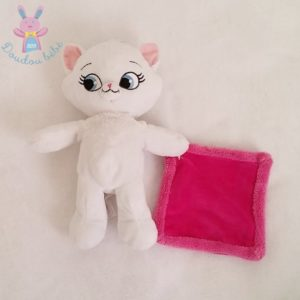 Doudou Chat Marie blanc mouchoir rose fuchsia DISNEY
