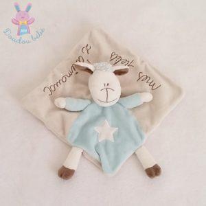 "Doudou plat Mouton beige bleu étoile ""mes petits z'animaux"" KIMBALOO"