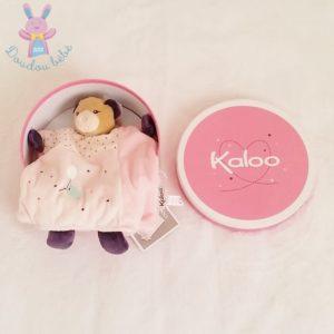 Doudou marionnette Ours Petite Rose oiseau étoiles KALOO