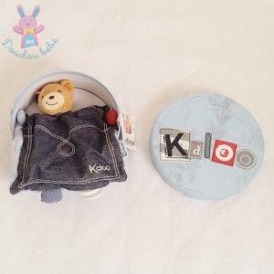 Doudou marionnette Ours bleu jean Blue Denim KALOO
