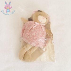 Doudou Ours Petite rose beige robe rose fleurs + Sac KALOO