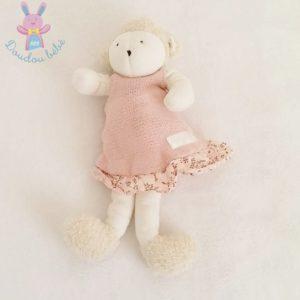 "Doudou Mouton blanc ""Moi bébé Clayeux"" robe rose MOULIN ROTY"