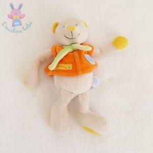 Doudou Ours orange gris Nestor et Capucine 25 cm MOULIN ROTY