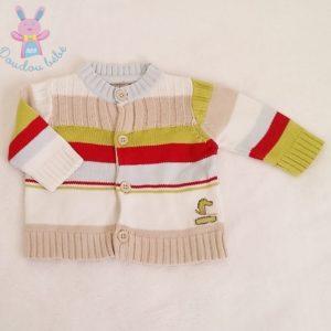 Gilet rayé et coloré mailles bébé garçon 1 MOIS ORCHESTRA