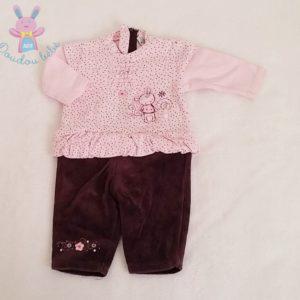 Combinaison rose et violette bébé fille 1 MOIS ABSORBA