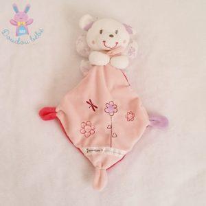 Doudou Ours ange blanc rose avec ailes mouchoir fleurs POMMETTE