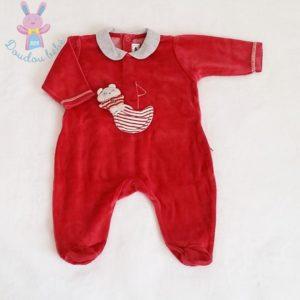 Pyjama velours rouge bébé garçon 3 MOIS SUCRE D'ORGE