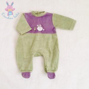 Pyjama velours Lapin bébé garçon 3 MOIS