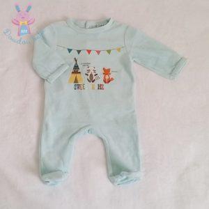 Pyjama velours vert indiens bébé garçon 3 MOIS