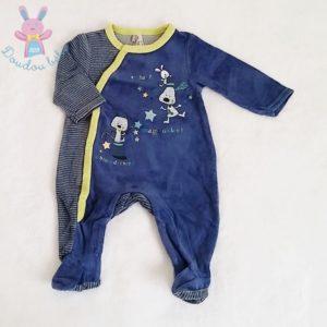 Pyjama velours bleu et rayé bébé garçon 3 MOIS ORCHESTRA