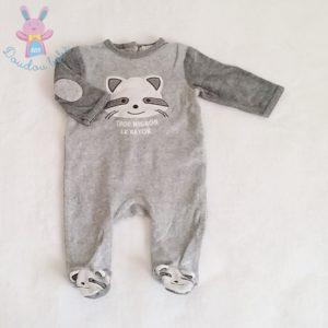 Pyjama velours gris raton laveur bébé garçon 3 MOIS
