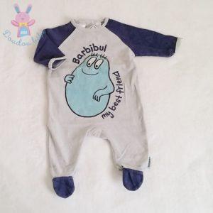 Pyjama velours bleu Barbidul bébé garçon 3 MOIS BARBAPAPA