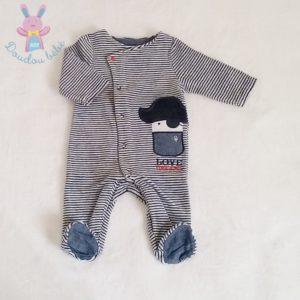 Pyjama velours rayé bleu gris bébé garçon 3 MOIS OBAIBI
