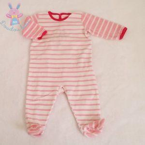 Pyjama velours rayé rose blanc bébé fille 9 MOIS PETIT BATEAU