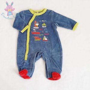 Pyjama velours bleu pirate bébé garçon 1 MOIS ORCHESTRA
