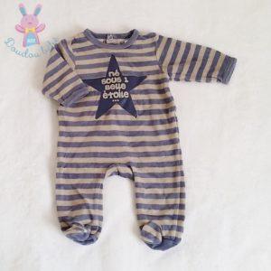 Pyjama velours rayé bleu beige bébé garçon 1 MOIS