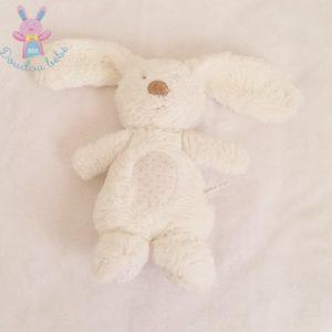 Doudou Lapin blanc beige étoiles SUCRE D'ORGE