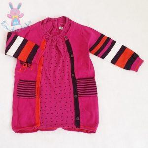 Robe bi-matières fuchsia bébé fille 12 MOIS MARESE