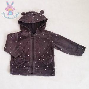 Sweat zippé à capuche gris bébé fille 9 MOIS