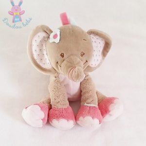 Doudou éléphant Charlotte rose beige fleurs NATTOU