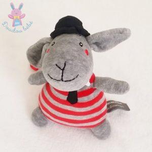 Doudou Lapin rayé gris rouge chapeau noir ORCHESTRA