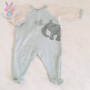Pyjama velours bleu bébé garçon 6 MOIS PETIT BATEAU