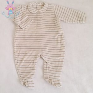 Pyjama velours rayé bébé garçon 6 MOIS AUBISOU