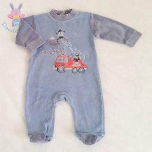 Pyjama velours bleu Pompiers bébé garçon 6 MOIS LES CHATOUNETS
