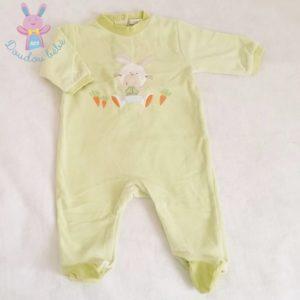Pyjama velours vert Lapin bébé garçon 6 MOIS