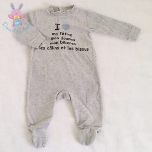 Pyjama velours gris bébé garçon 6 MOIS