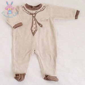 Pyjama velours beige bébé garçon 6 MOIS ABSORBA