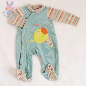 Pyjama velours bleu rayé bébé garçon 6 MOIS ORCHESTRA