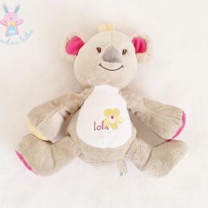 Doudou Koala Lola gris rose jaune Bébisol