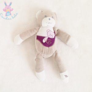 Doudou Ours gris violet avec bébé MUSTELA