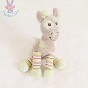 Doudou Girafe Arthur gris rayé vert Bébisol