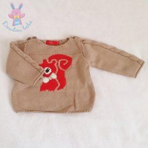 Pull beige écureuil bébé garçon 12 MOIS