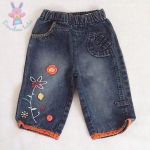 Pantalon jean bleu bébé fille 12 MOIS ORCHESTRA