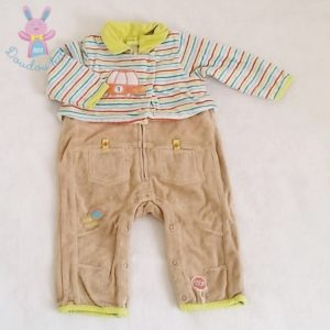 Combinaison velours beige bébé garçon 12 MOIS ORCHESTRA