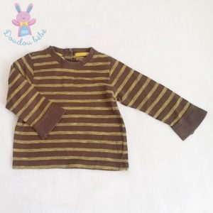 T-shirt rayé marron jaune bébé garçon 18 MOIS