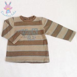 T-shirt marron crème bébé garçon 18 MOIS CREEKS
